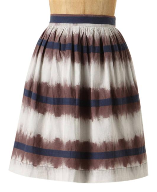 Anthropologie White Blue Brown Inkwell Skirt Size 0 (XS, 25) Anthropologie White Blue Brown Inkwell Skirt Size 0 (XS, 25) Image 1
