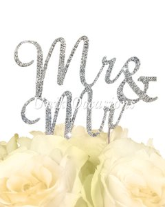 Crystal Rhinestone Gay Cake Topper - Mr & Mr - Silver