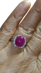 SALE*6.10CT NATURAL UNTREATED RUBY& DIAMOND 14K WHITE GOLD RING