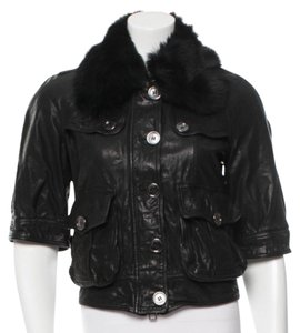 Burberry Leather Fur Short Collar Leather Jacket