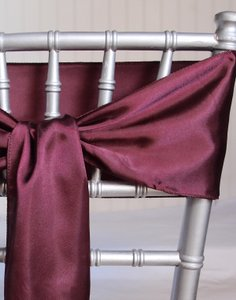 Burgundy Satin Chair Sashes (quantity: 210)