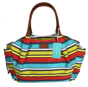 Kate Spade Yellow Aqua Blue Red White Multicolor Stripe/Gold hardware Diaper Bag