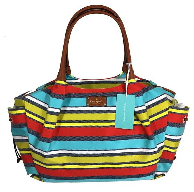 Item - Key West Large Multi Color Stripe Travel Leather Trim Yellow Aqua Red White /Gold Canvas Diaper Bag