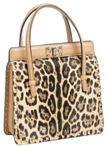 Valentino Studded Rockstud Calf Hair Tote in Leopard Print
