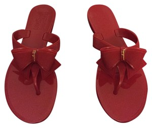 08c910421c81 Salvatore Ferragamo  red  ferragamobowsandal  flipflop Red Sandals