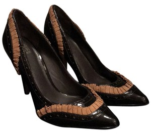 Saks Fifth Avenue Chocolate brown patent w light brown suede detail Pumps