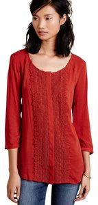 Anthropologie Lace Career Soft Rayon Maeve Button Down Shirt red