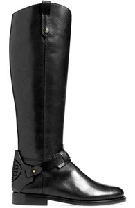 Tory Burch Leather Designer Riding Leather Leather Black Boots