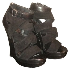 Rachel Zoe Black leather and suede Wedges