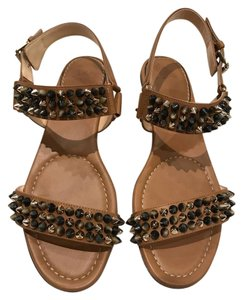 Christian Louboutin Bikee Bike Spike Flat brown Sandals