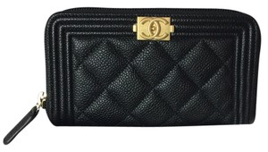 Chanel CHANEL 2017 Black Caviar Boy Zip Wallet Coin Purse Cardholder GOLD