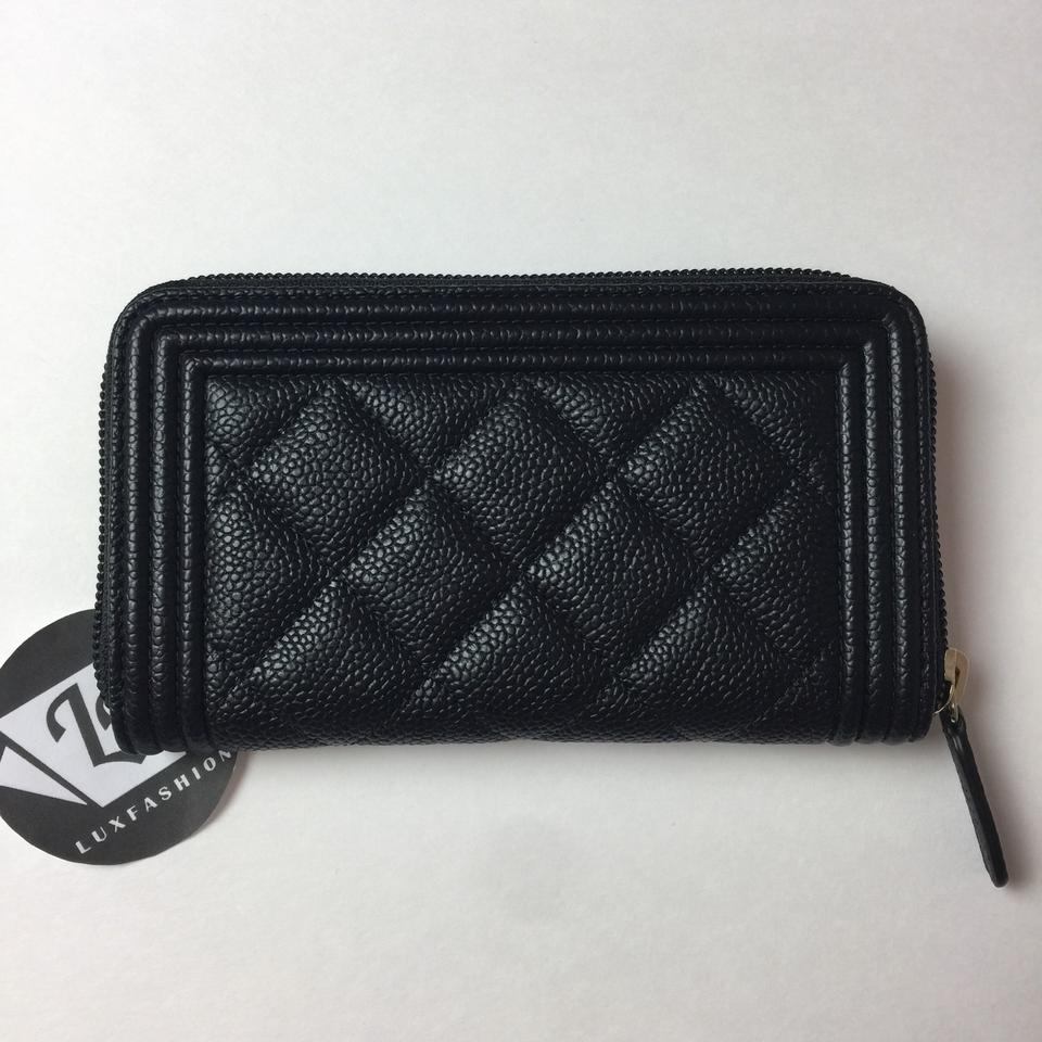 a1bc43d96f2b Chanel Black Boy 2017 Caviar Zip Coin Purse Cardholder Gold Wallet - Tradesy