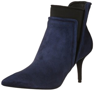 Kenneth Cole Velvet Ankle Navy and Black Boots