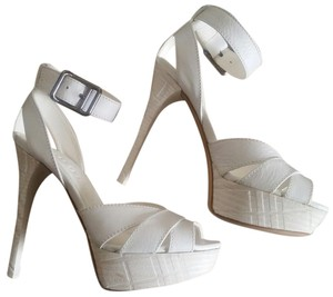 Burberry Leather Ankle Strap Platform Check Logo White Sandals