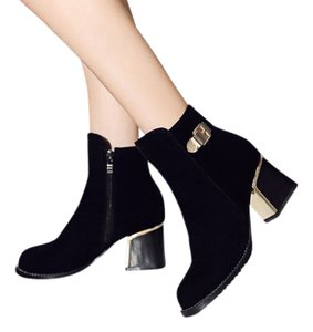 MORAZOR Chunky Heel black and gold Boots