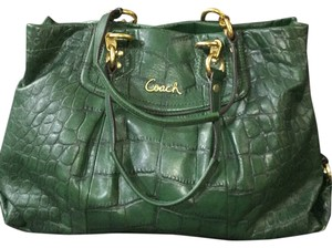 Coach Croc Embossed Leather Satchel in Green