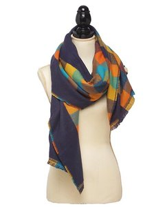 Other Blue 100% Acrylic Check Reversible Oblong Scarf