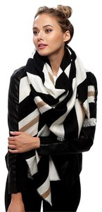 Other Ivory 100% Acrylic Line Pattern Scarf