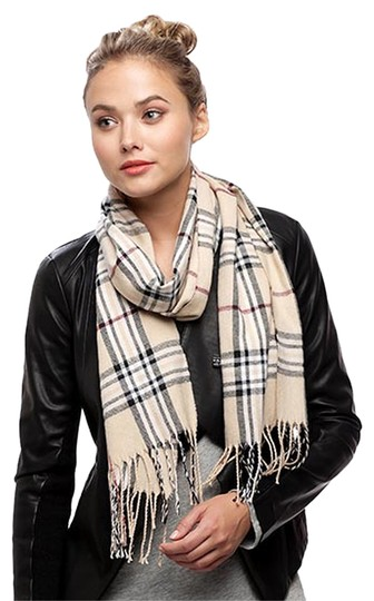 Other BEIGE 100% Arcylic Check Oblong Scarf Image 0
