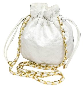 Chanel Bucket Drawstring Hobo Tassel Ostrich Shoulder Bag