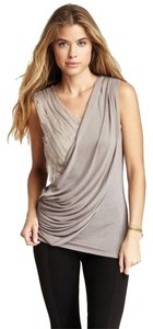 MM Couture Faux-wrap Deconstructed Surplice Draped Top Grey, Gray, Mauve, Silver