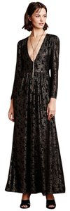Anthropologie Metallic Long Sleeves Sam & Lavi Sexy Gown Dress