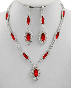 Other Red Acrylic Clear Rhinestone Necklace & Earring Set