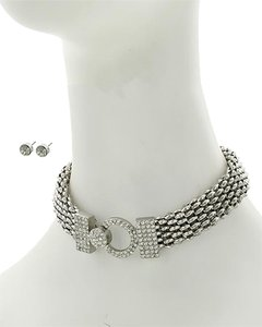 Other Clear Casting Rhinestone Choker & Earring Set