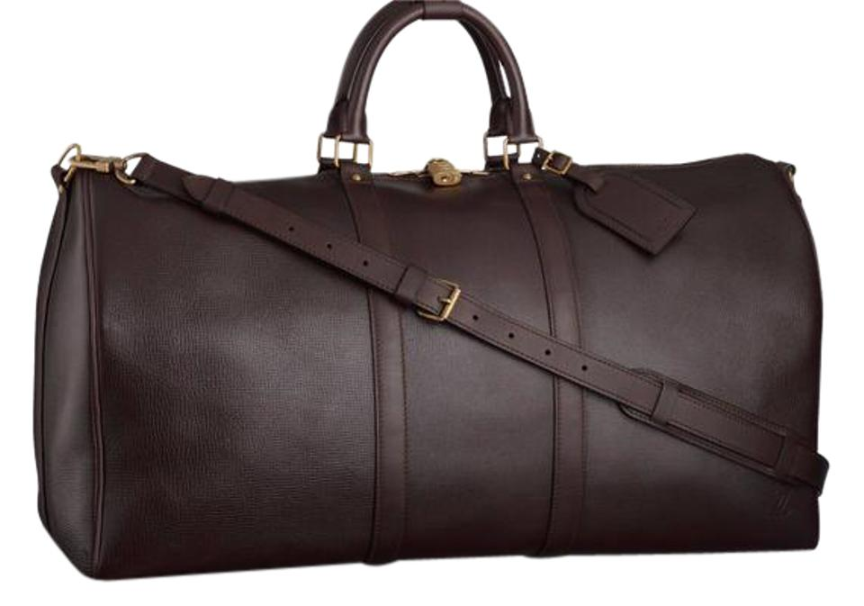 d799498c1598 Louis Vuitton Keepall ( Extremely Rare ) Utah Bandouliere 55 213077 Brown  Leather Weekend/Travel Bag
