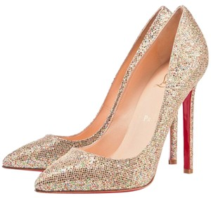 Christian Louboutin Pigalle Hardware Glitter Pointed Toe Embellished Gold Pumps