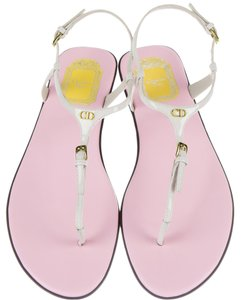 Dior Logo Ankle Strap White, Gold Sandals