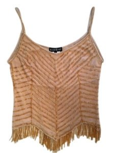 bebe Partially Sheer Top Gold