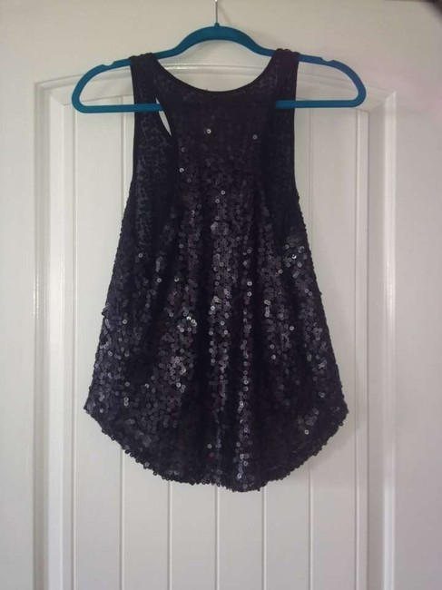 Eight Sixty Sparkle Sleeveless Top Black Matte Sequins