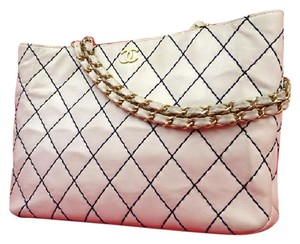 Chanel Surpique Wild Stitch Quilted Tote in White