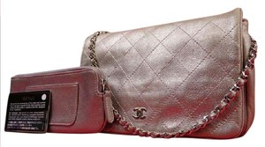 Chanel Quilted Metallic Silver WOC ( w/ Pouch & Box ) 212920
