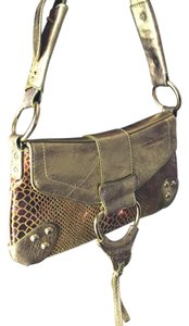 Cache Snakeskin Metallic Leather Shoulder Bag