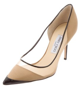 Jimmy Choo Mesh Pointed Toe Patent Leather Anouk Fishnet Beige, Black Pumps