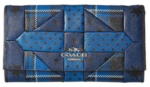 Coach Americana Plaid Patchwork Blue Clutch