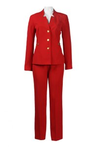 Isabella Fiore Isabella High Neck Long Sleeve Button Solid Crepe Pants Set