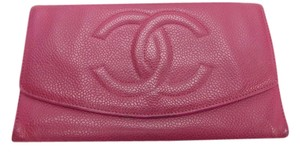 Chanel Chanel Fuchsia Pink Caviar Skin Leather Long Continental Wallet