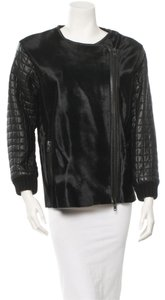 Jonathan Simkhai Leather Quilted Embroidered Bomber Silk Coat