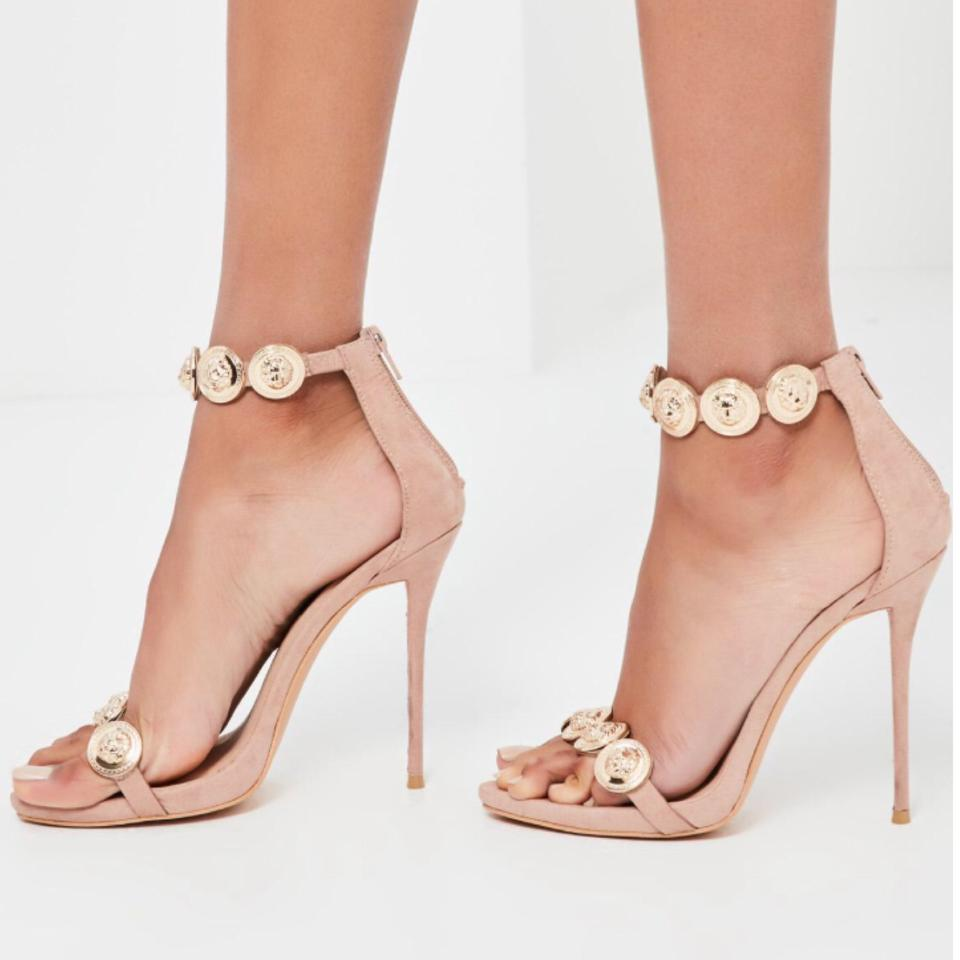 0c61d61625d52 Missguided Peace + Love Embellished Nude Heels Formal Shoes Size US ...