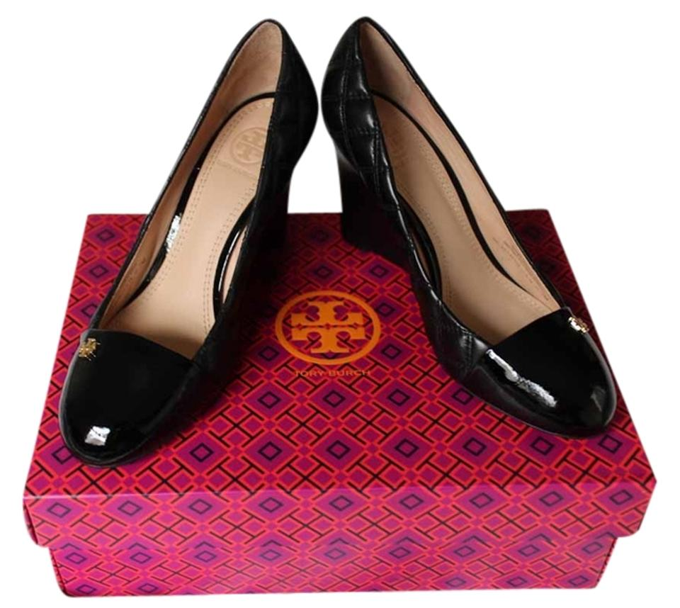 d133829a4db Tory Burch Claremont Quilted Leather High Heel Pump Size 7 Black Wedges  Image 0 ...