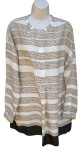 Adrienne Vittadini Tunic Print Silky Top Ivory Gold Black