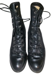 Justin Western Cowboy Leather Vintage Black Boots