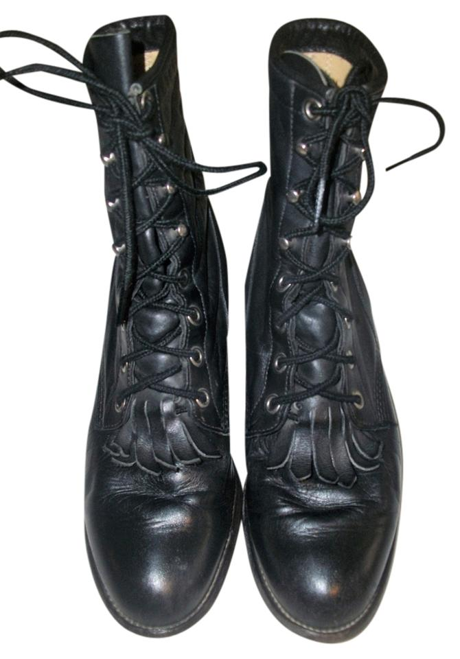 2f586ca5cfab1 Justin Black Vintage 80's Women's Leather Lace-up Western Boots/Booties