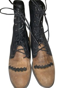 Justin Western Cowboy Leather Black and Tan Boots
