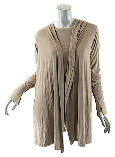 Ray Harris Taupe London Tan Rayon Stretch Knit Tunic + Hoodie Duo Cardigan Size OS (one size) Ray Harris Taupe London Tan Rayon Stretch Knit Tunic + Hoodie Duo Cardigan Size OS (one size) Image 1