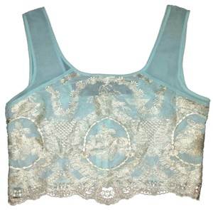 Miss Selfridge Sky Blue with Ivory Lace Halter Top