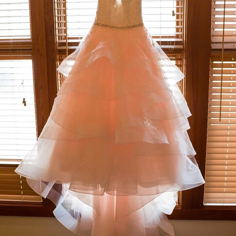 Allure Bridals Baby Pink Ivory Silver Fabric English Net And Lace Ballgown Style